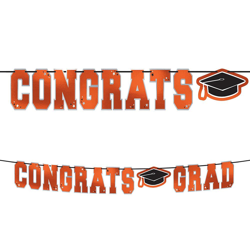 Congrats Grad Orange Graduation Hanging Decorations Kit Image #2