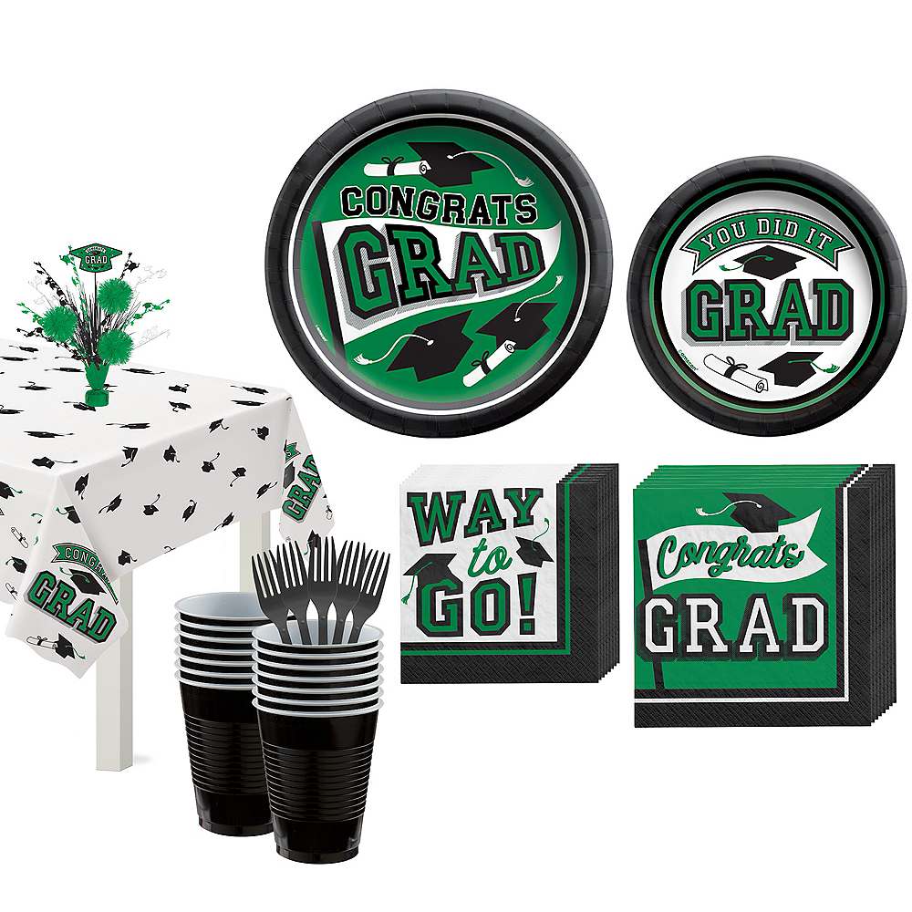Congrats Grad Green Graduation Tableware Kit for 18 Guests Image #1
