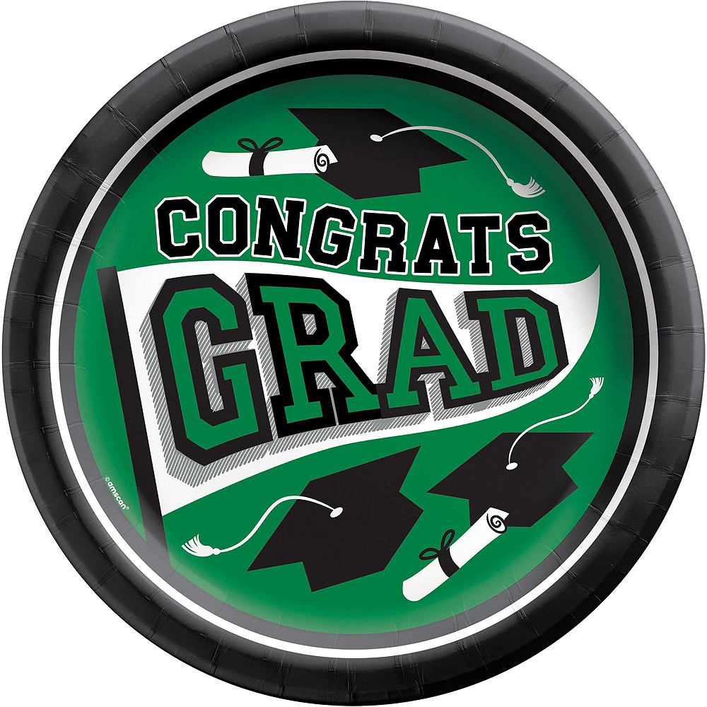 Congrats Grad Green Graduation Tableware Kit for 18 Guests Image #3