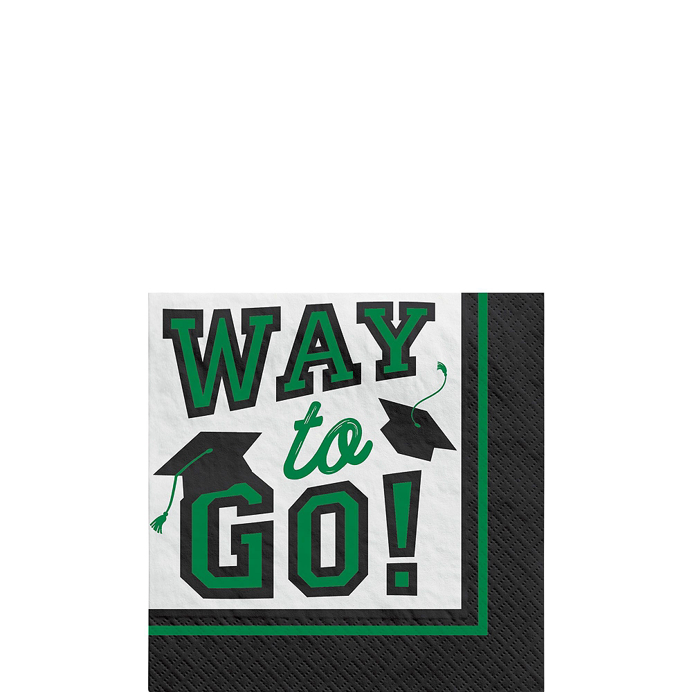 Congrats Grad Green Graduation Tableware Kit for 18 Guests Image #4