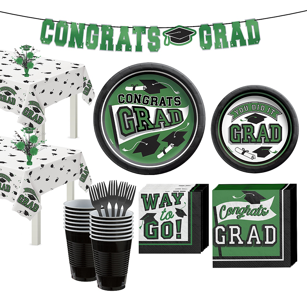 Congrats Grad Green Graduation Party Kit for 36 Guests Image #1