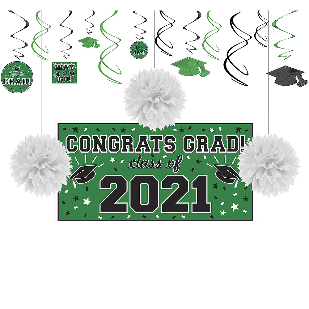 Congrats Grad Green Graduation Decorating Kit Image #1