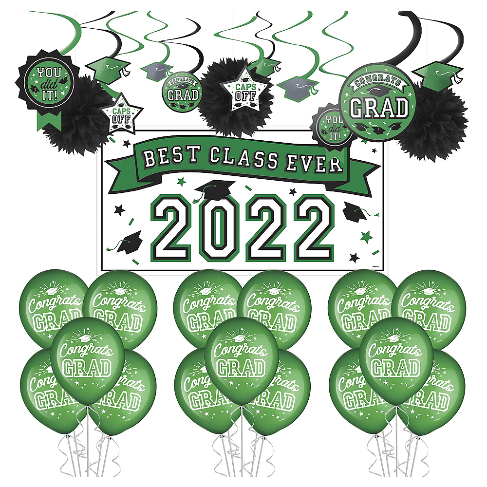 Nav Item for Congrats Grad Green Graduation Decorating Kit with Balloons Image #1