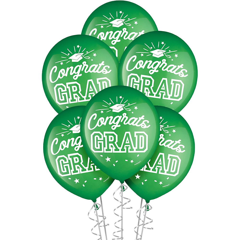 Nav Item for Congrats Grad Green Graduation Decorating Kit with Balloons Image #2
