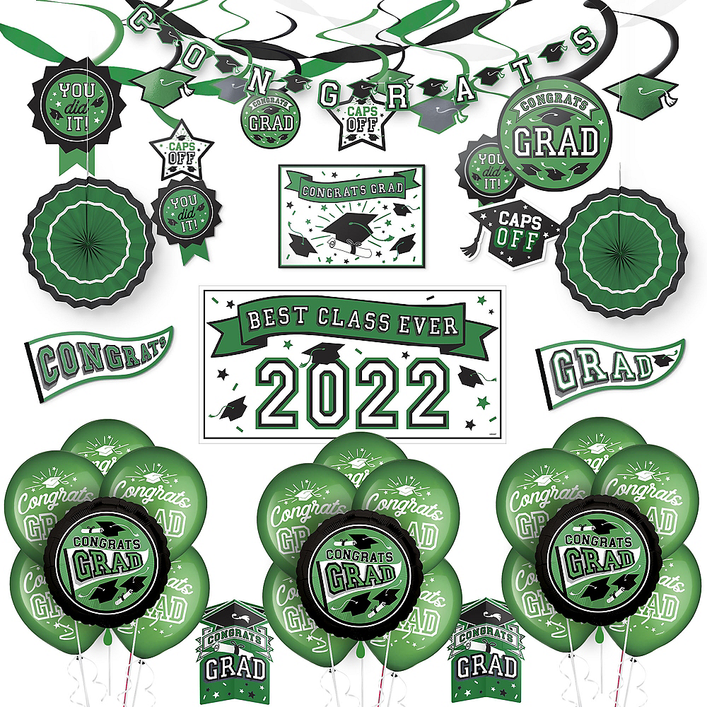Congrats Grad Green Graduation Deluxe Decorating Kit with Balloons Image #1