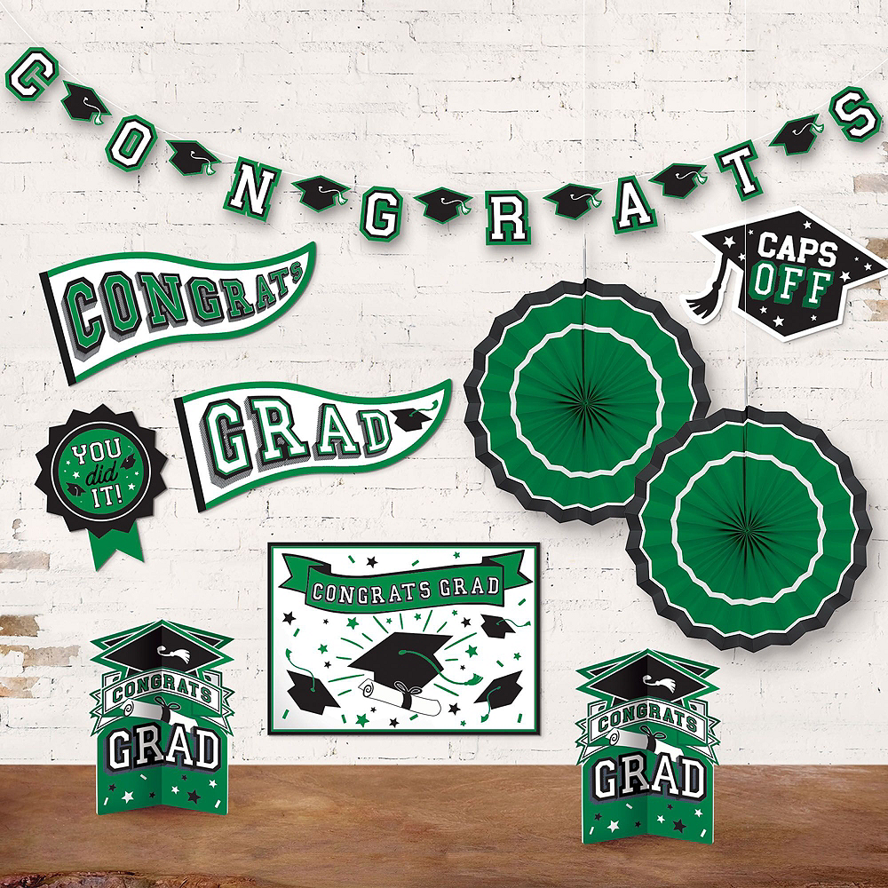 Congrats Grad Green Graduation Deluxe Decorating Kit with Balloons Image #5