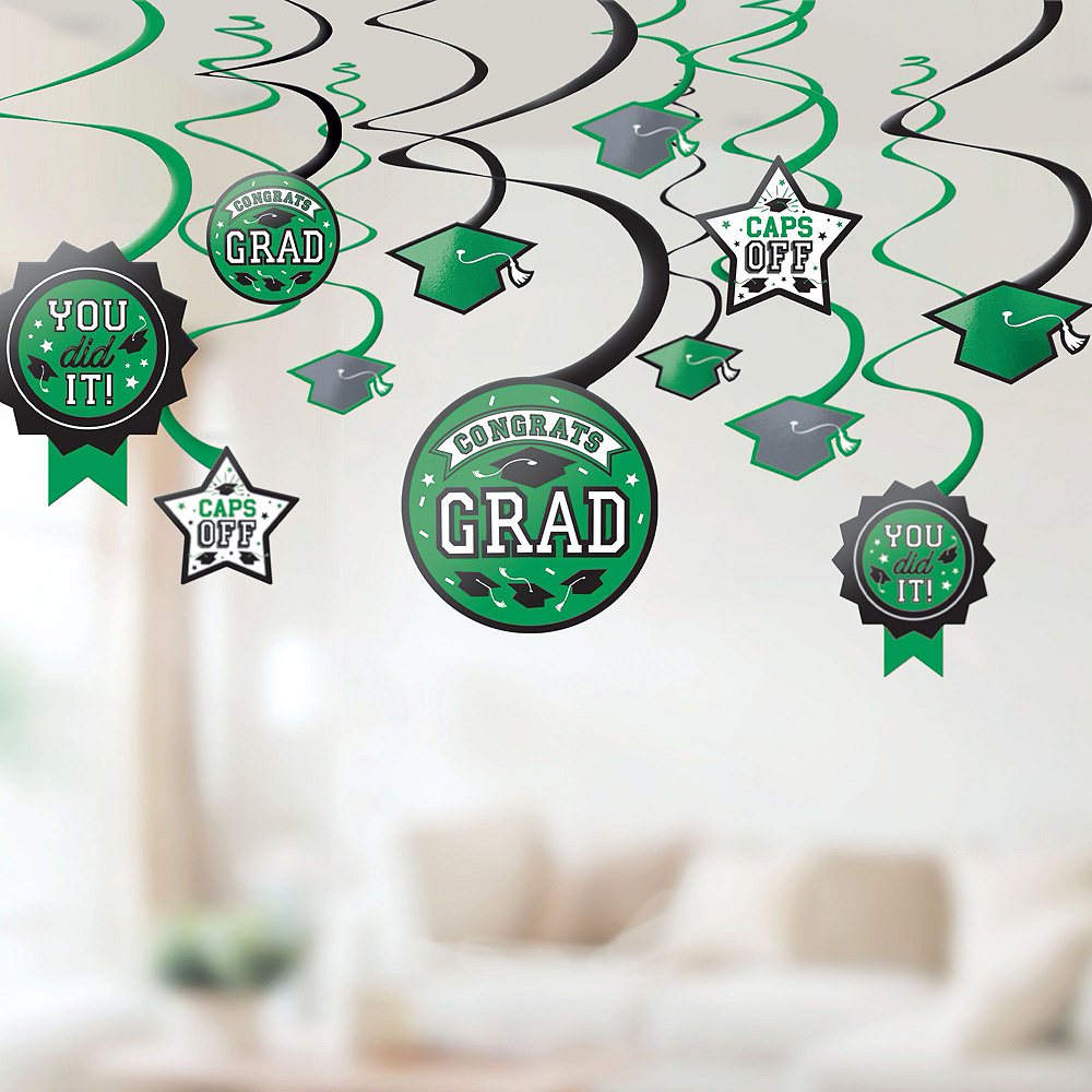 Congrats Grad Green Graduation Deluxe Decorating Kit with Balloons Image #6