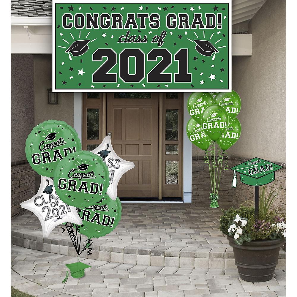 Congrats Grad Green Graduation Outdoor Decorations Kit Image #1