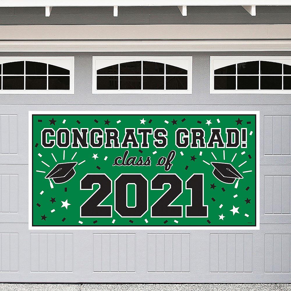 Congrats Grad Green Graduation Outdoor Decorations Kit Image #2