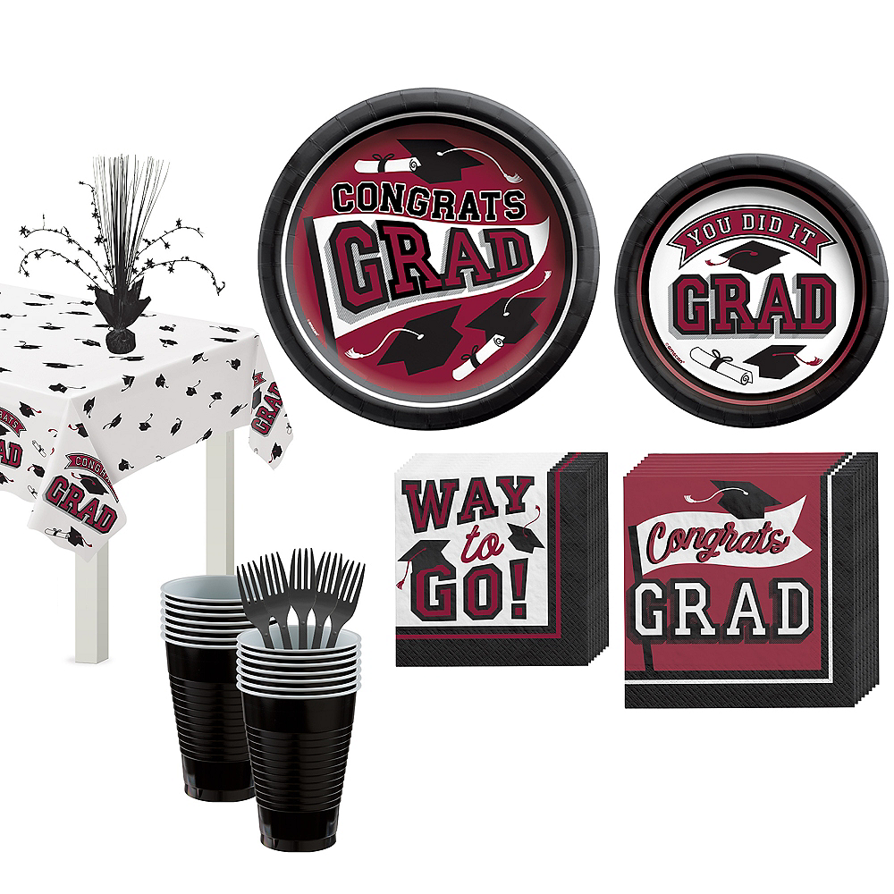 Congrats Grad Berry Graduation Tableware Kit for 18 Guests Image #1