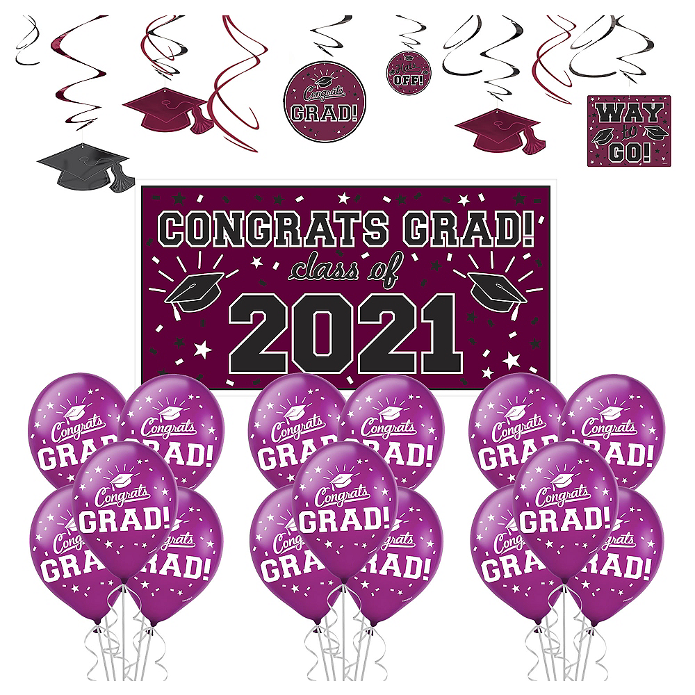 Congrats Grad Berry Graduation Decorating Kit with Balloons Image #1