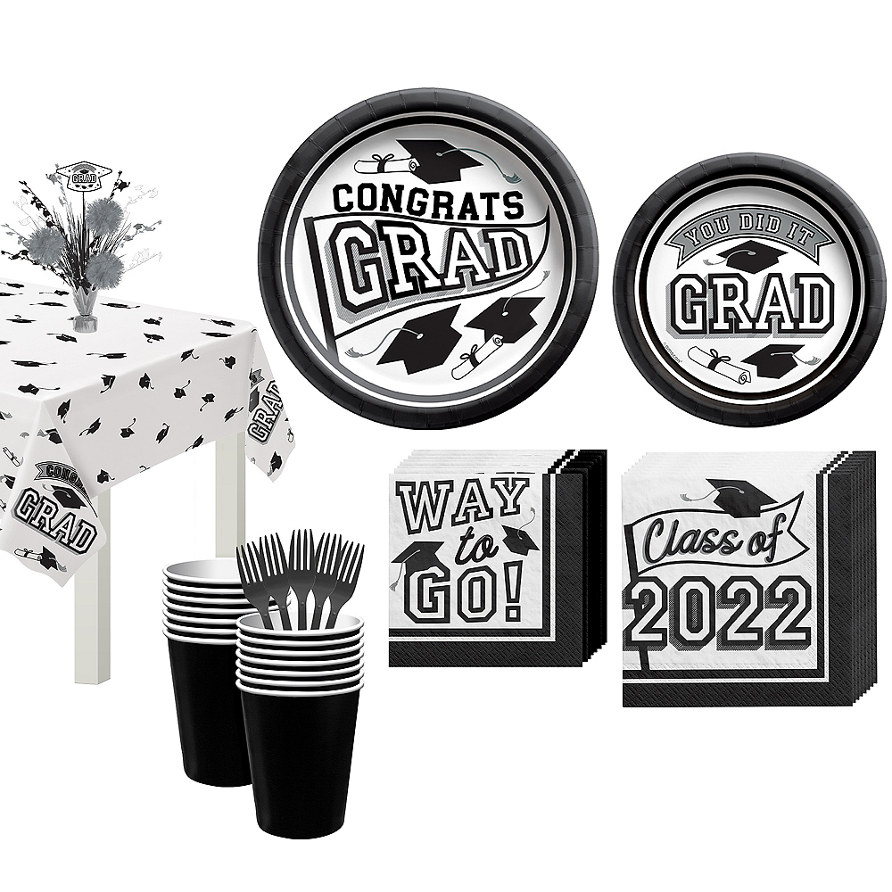 Congrats Grad White Graduation Tableware Kit for 18 Guests Image #1