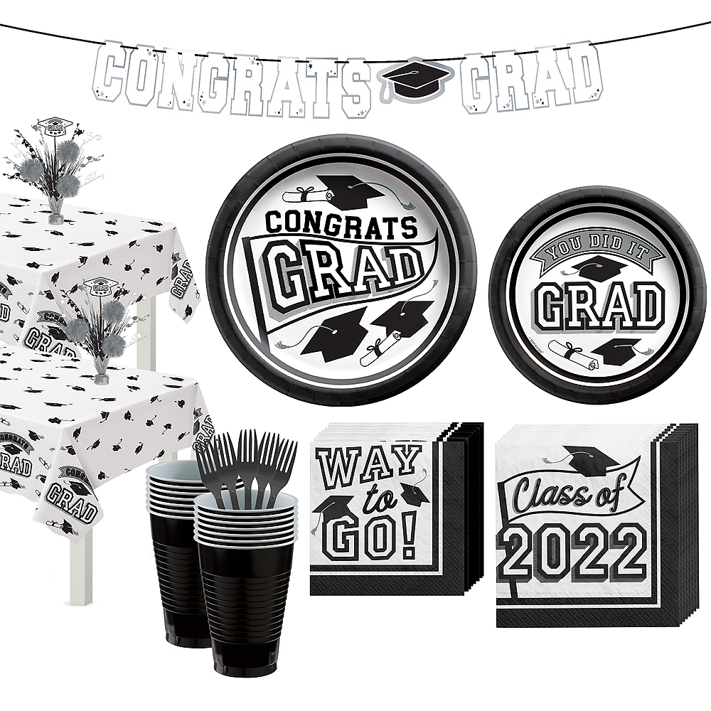 Congrats Grad White Graduation Party Kit for 36 Guests Image #1