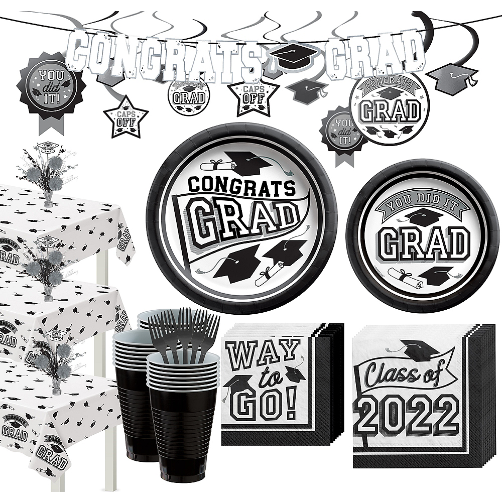 Nav Item for Super Congrats Grad White Graduation Party Kit for 54 Guests Image #1