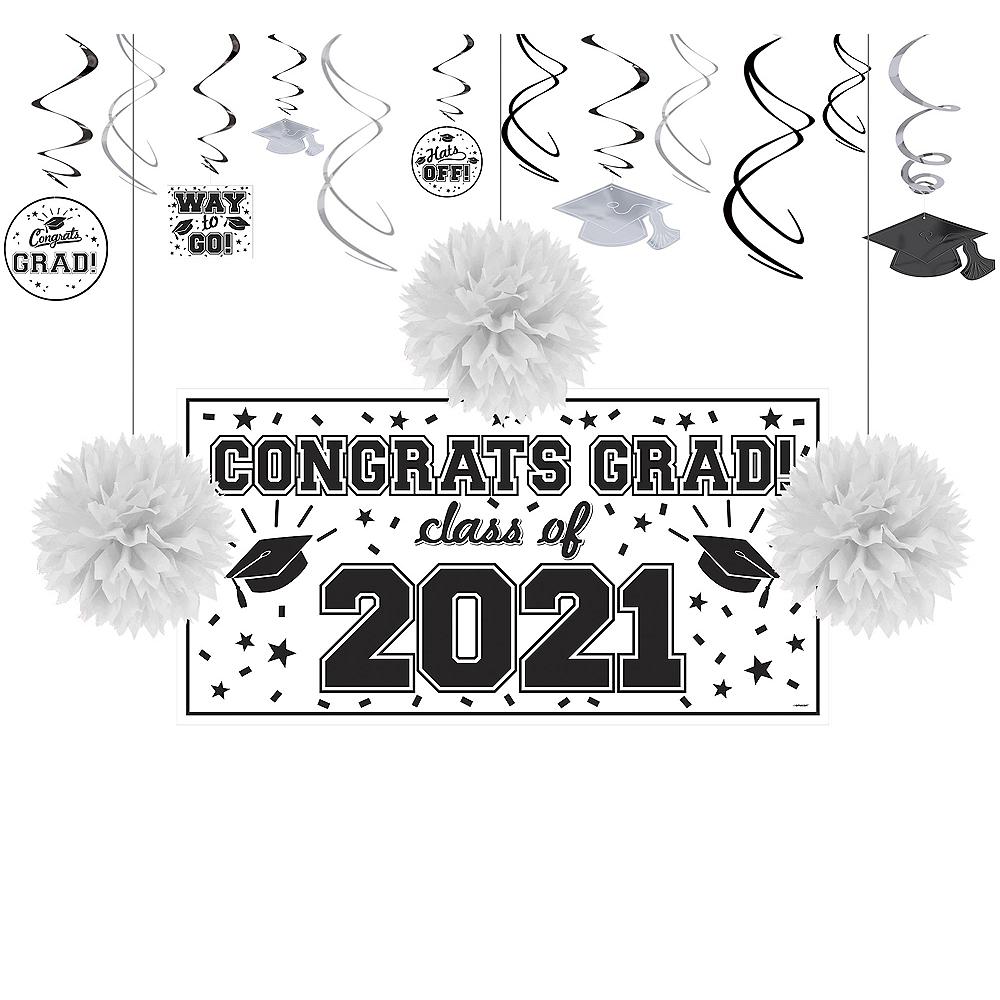 Congrats Grad White Graduation Decorating Kit Image #1
