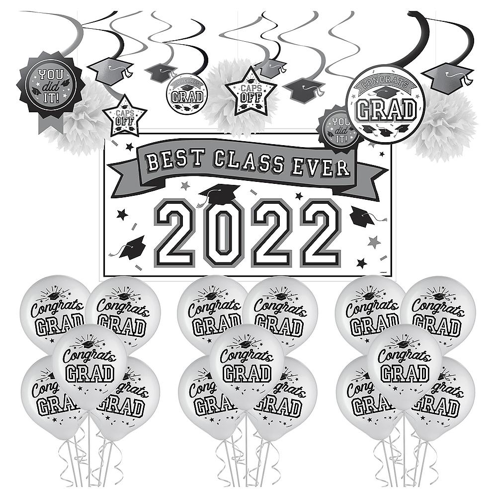 Congrats Grad White Graduation Decorating Kit with Balloons Image #1