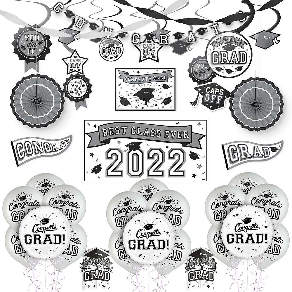 Congrats Grad White Graduation Deluxe Decorating Kit with Balloons Image #1