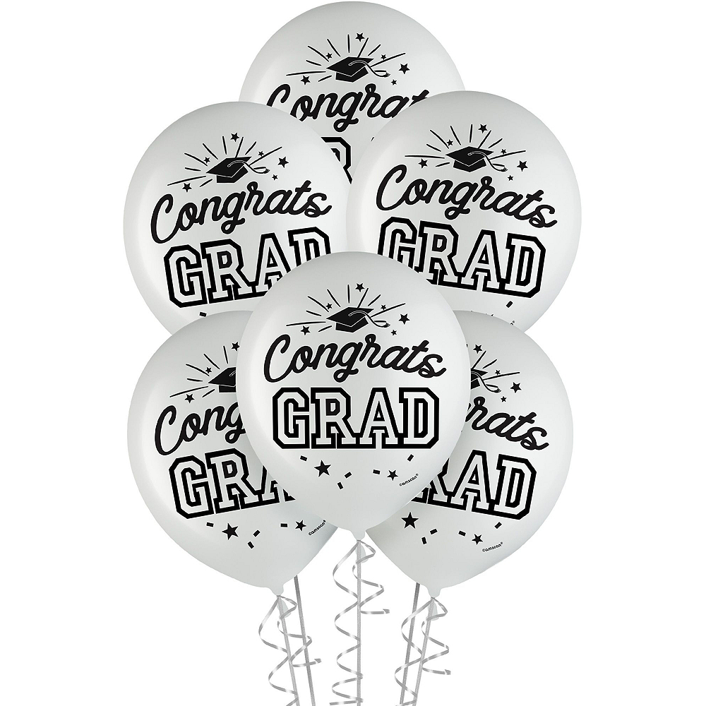 Congrats Grad White Graduation Deluxe Decorating Kit with Balloons Image #3