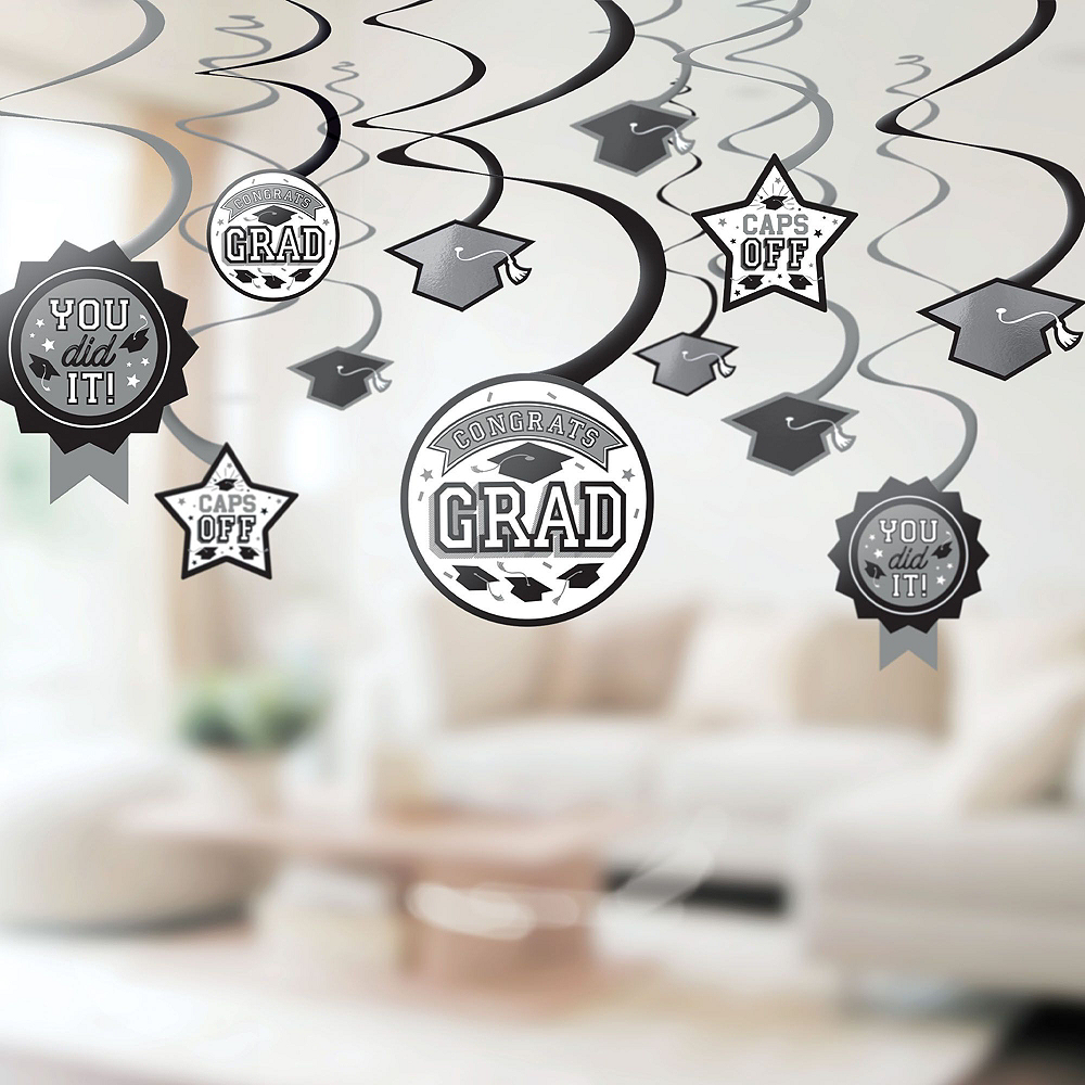 Congrats Grad White Graduation Deluxe Decorating Kit with Balloons Image #5
