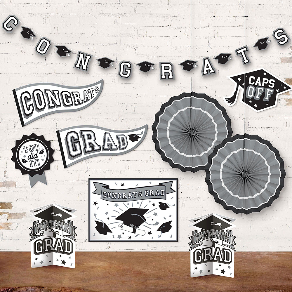 Congrats Grad White Graduation Deluxe Decorating Kit with Balloons Image #6