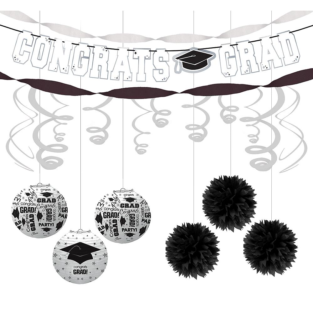 Congrats Grad White Graduation Hanging Decorations Kit Image #1