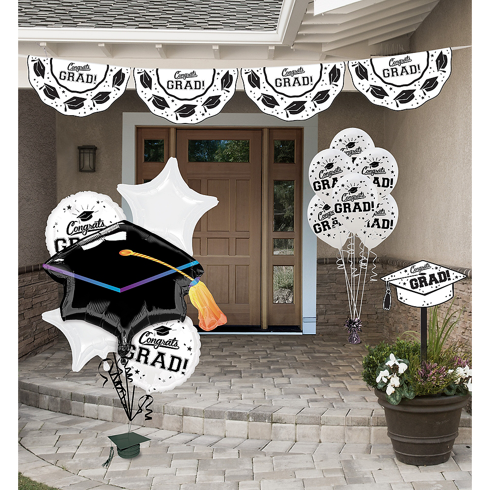 Congrats Grad White Graduation Outdoor Decorations Kit ...