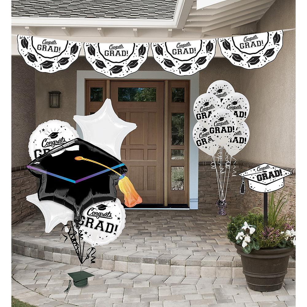 Congrats Grad White Graduation Outdoor Decorations Kit Image #1