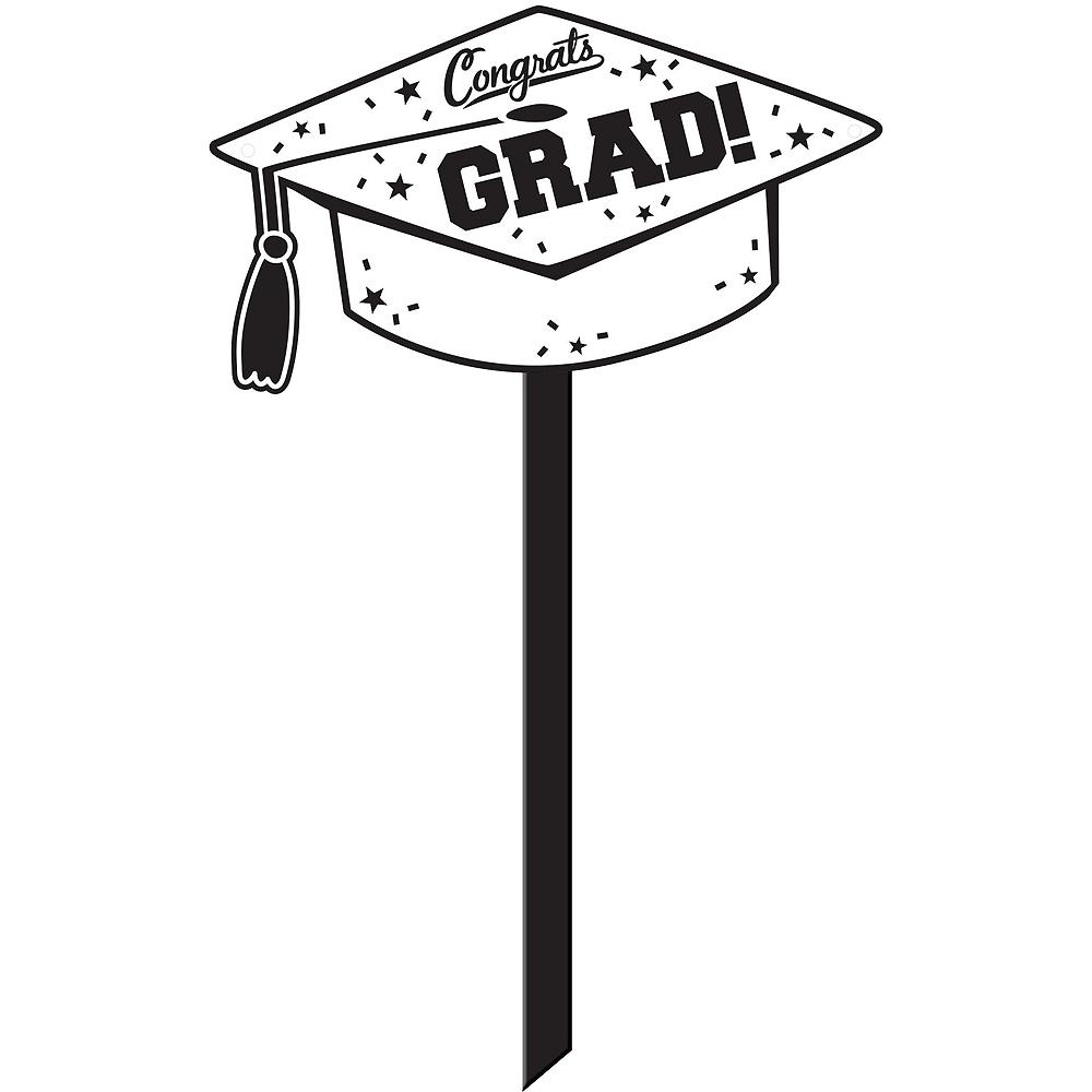 Congrats Grad White Graduation Outdoor Decorations Kit Image #4