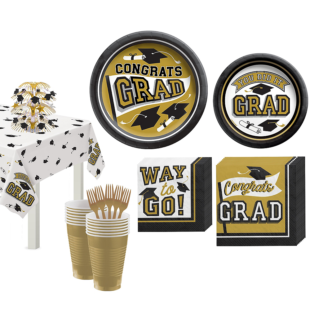Congrats Grad Gold Graduation Tableware Kit for 18 Guests Image #1