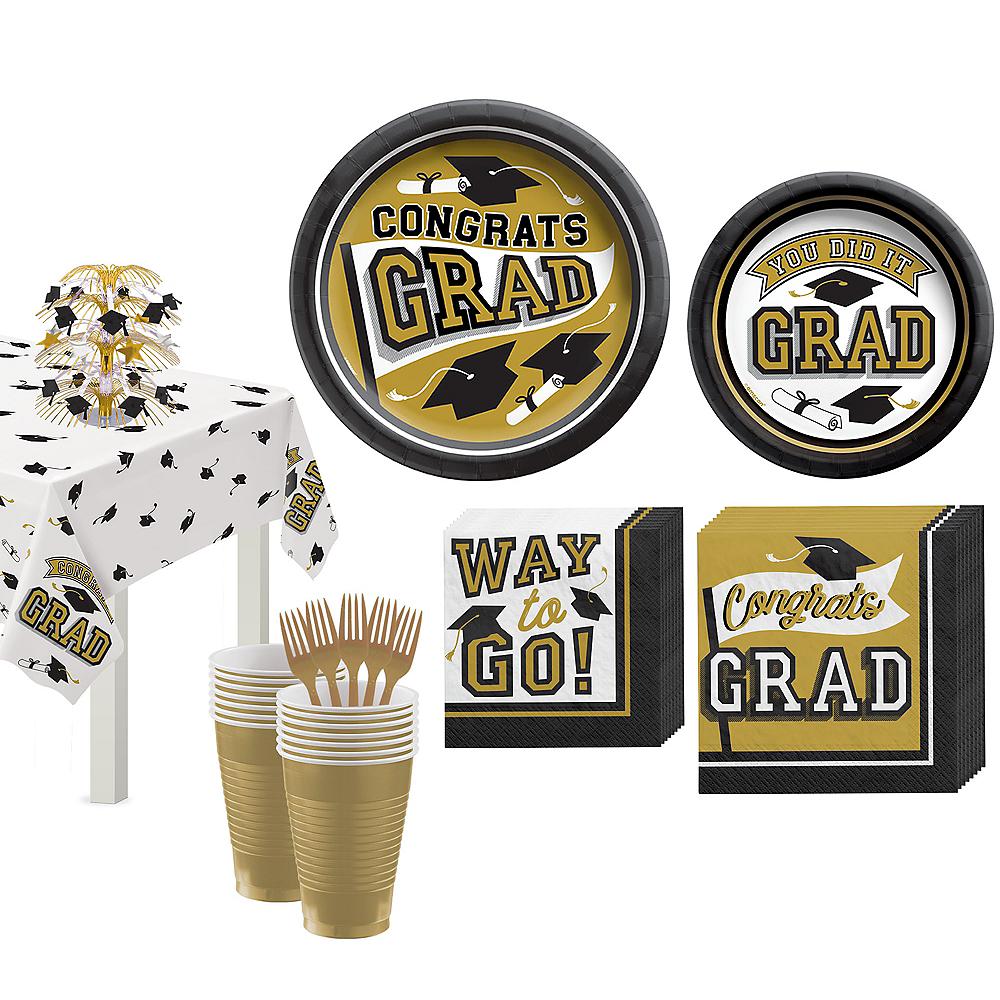 Congrats Grad Gold Graduation Tableware Kit for 18 Guests Image #1