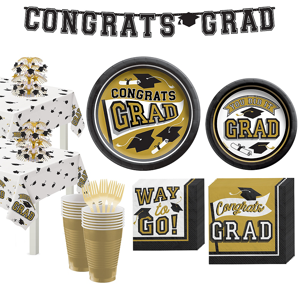 Deluxe Congrats Grad Gold Graduation Party Kit for 36 Guests Image #1