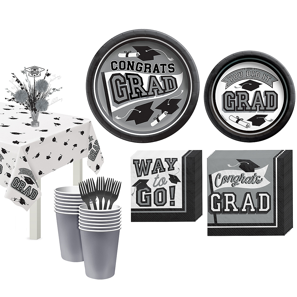 Congrats Grad Silver Graduation Tableware Kit for 18 Guests Image #1