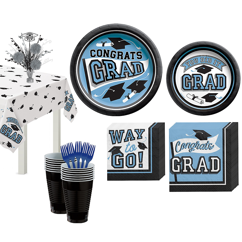 Congrats Grad Powder Blue Graduation Tableware Kit for 18 Guests Image #1