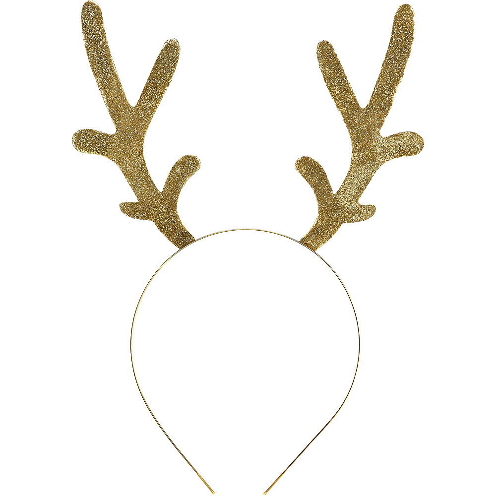 Adult Glitter Gold Antlers Headband Image #1