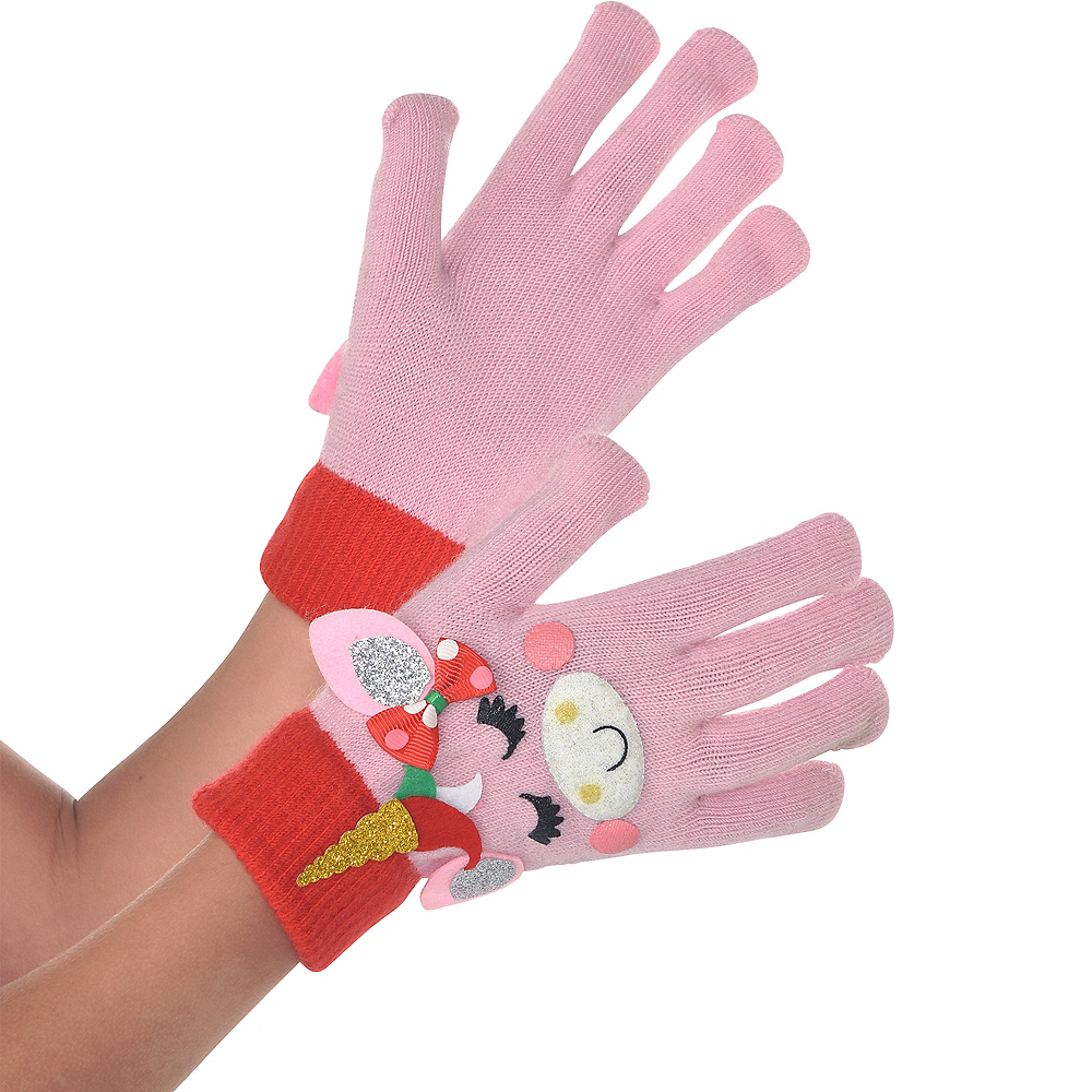 Child Unicorn Christmas Gloves Image #1