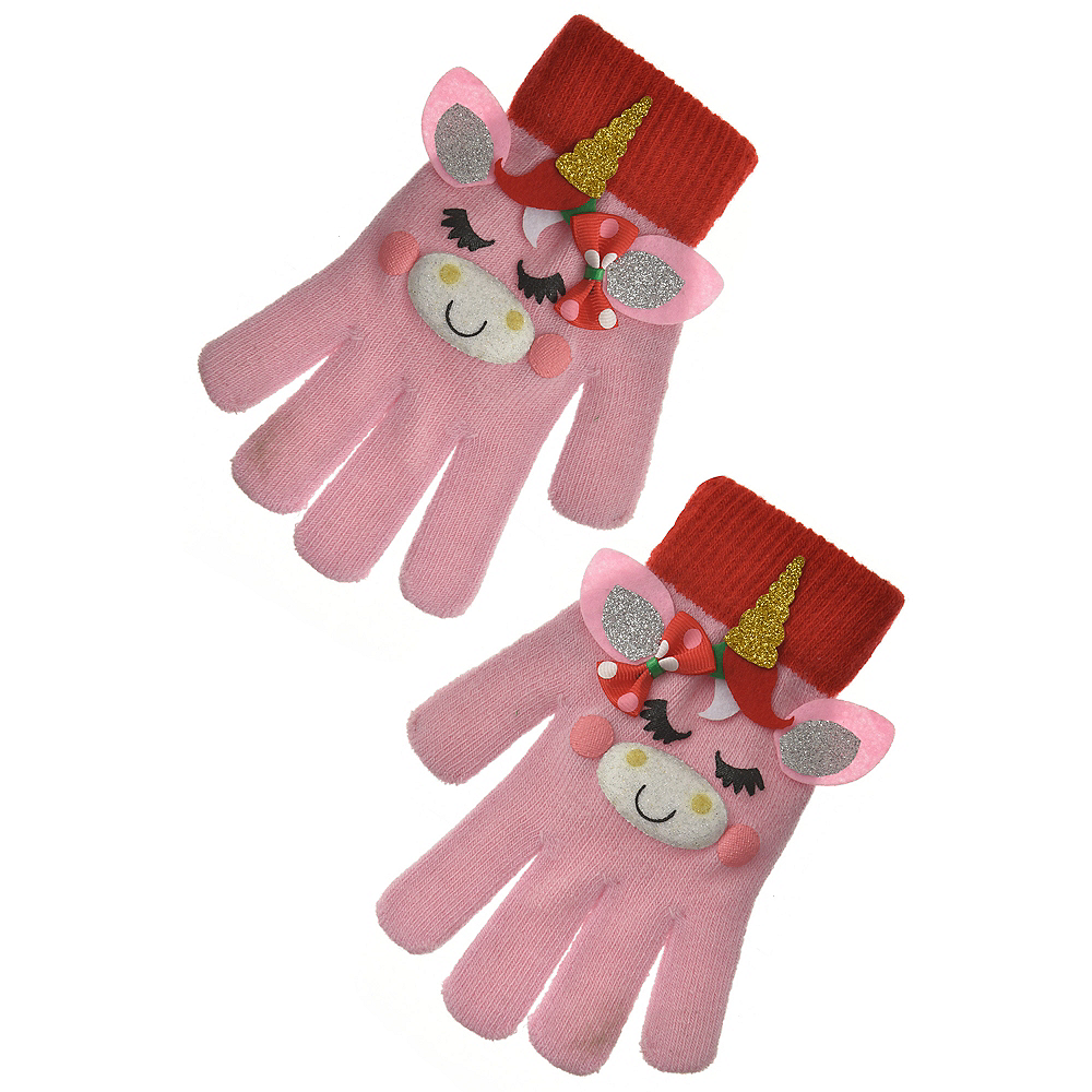 Child Unicorn Christmas Gloves Image #2