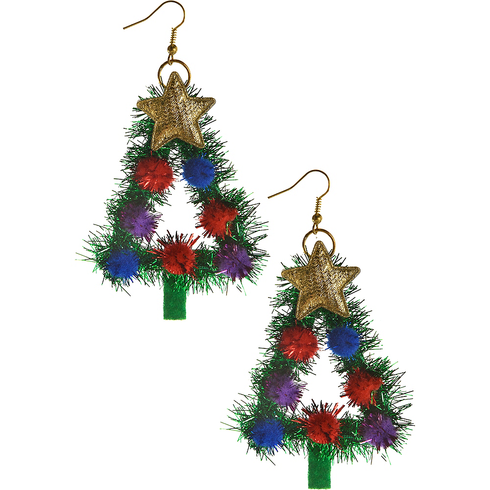tinsel christmas tree earrings image 1