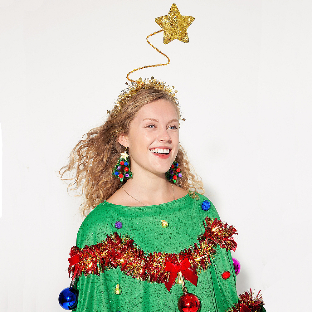 Tinsel Christmas Tree Earrings Image #2