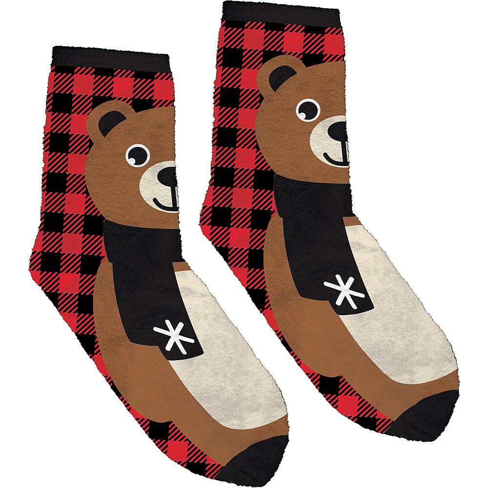 Adult Fuzzy Bear Christmas Socks Image #1