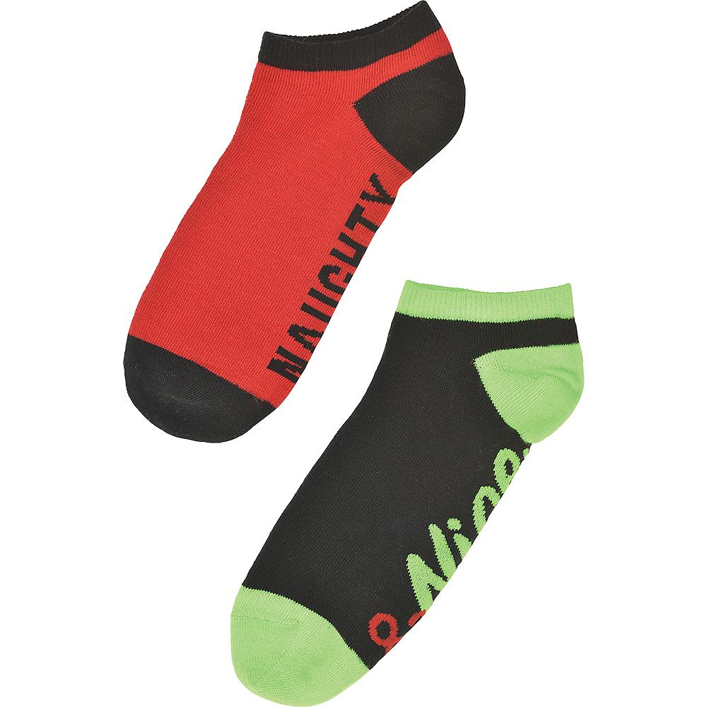 Adult Mismatched Naughty & Nice No-Show Socks 2ct Image #4