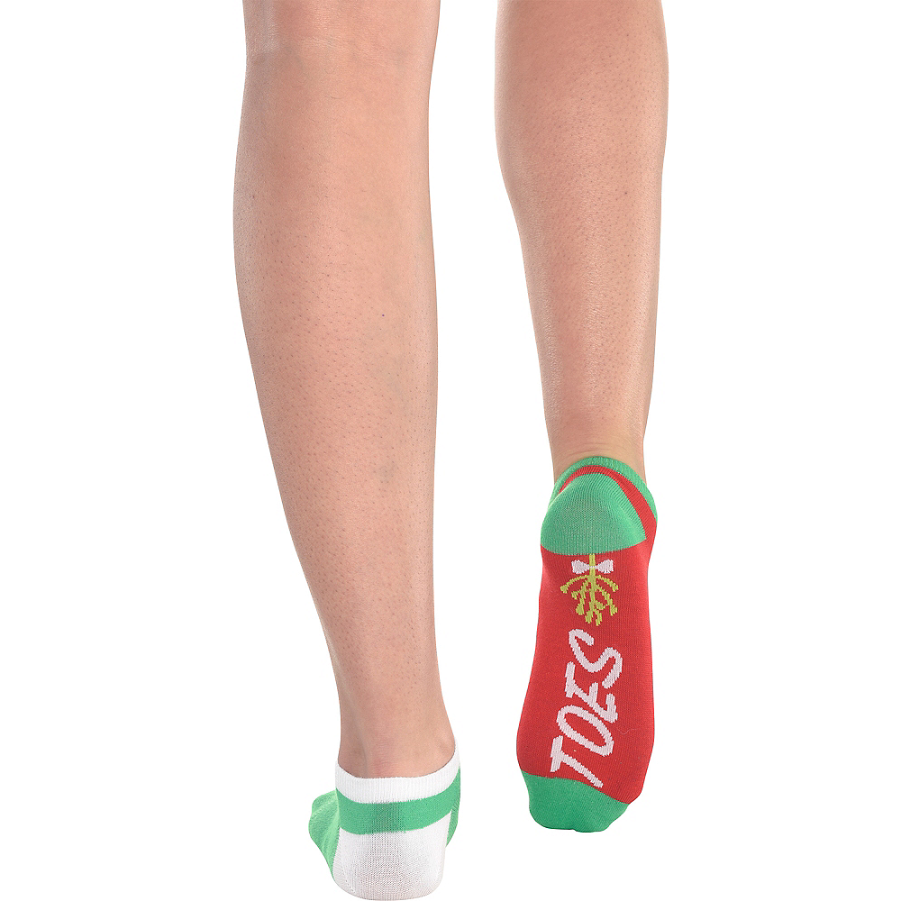 Adult Mismatched Mistletoes No-Show Socks 2ct Image #2