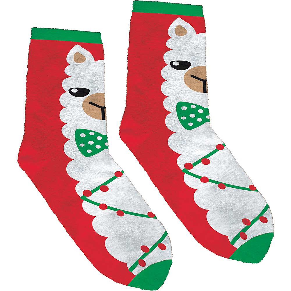 Nav Item for Adult Fuzzy Llama Christmas Crew Socks Image #1
