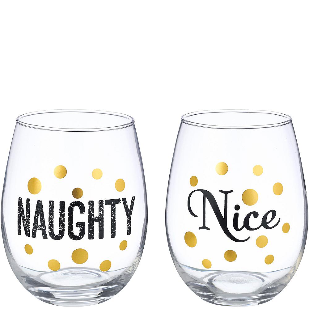 Naughty & Nice Stemless Wine Glasses 2ct Image #1