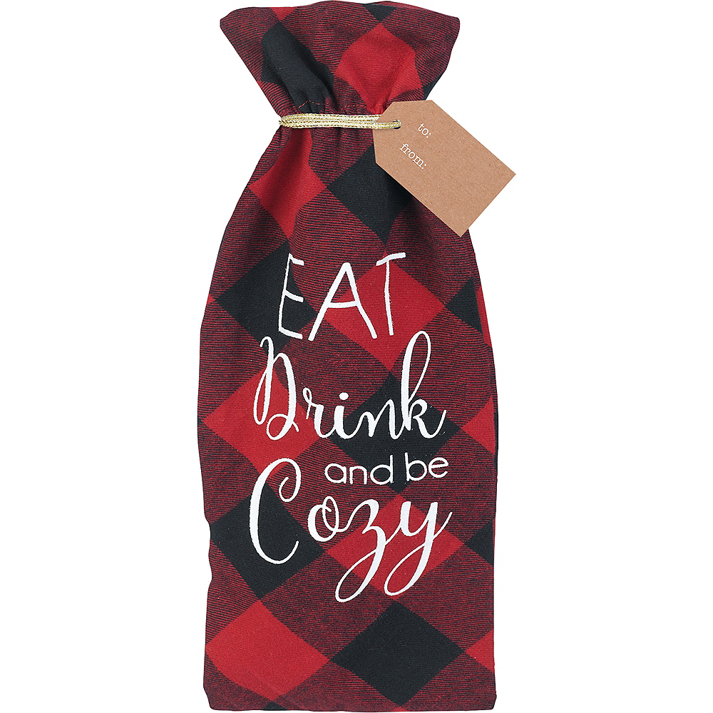 Eat, Drink, Cozy Fabric Bottle Bag Image #1
