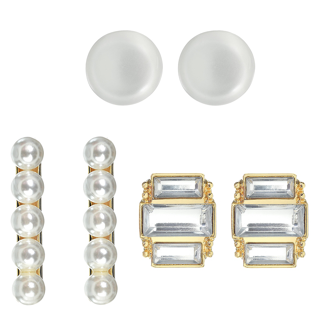 New Year's Eve Pearl Earring Set 6pc Image #1