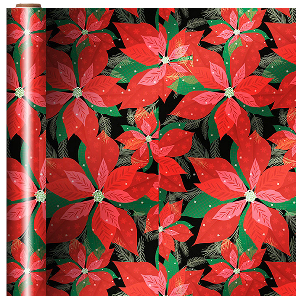 Metallic Poinsettia Gift Wrap Image #1
