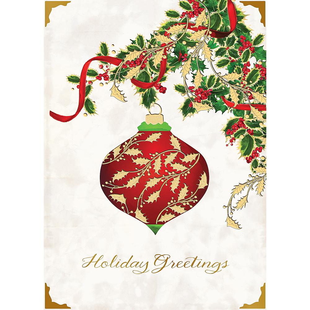 Holiday Greetings Ornament Holiday Cards 12ct Party City