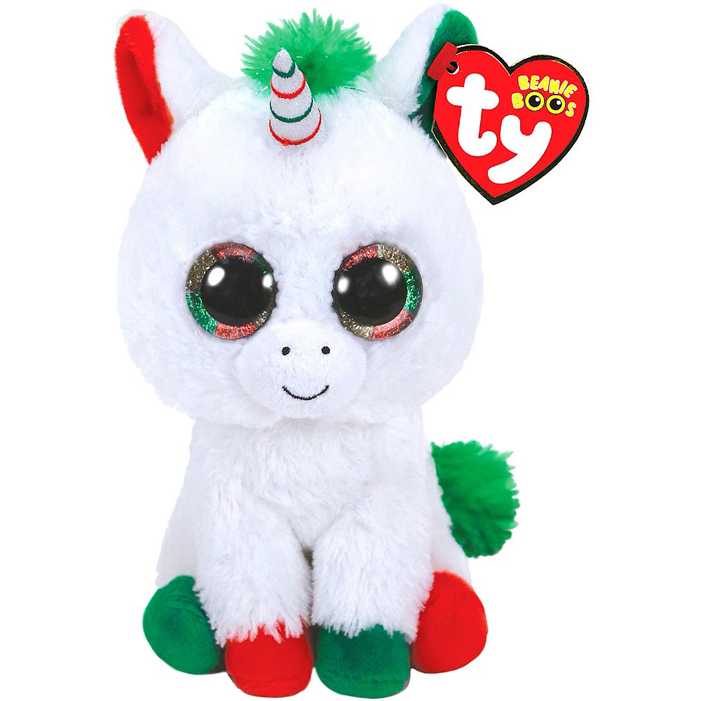 Candy Cane Beanie Boo Unicorn Plush 3in x 6in  bebbb1125