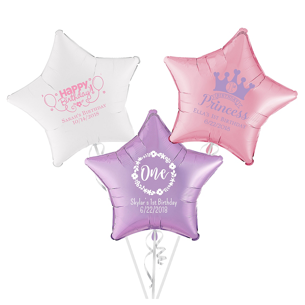 Personalized 1st Birthday Star Balloon Image #1