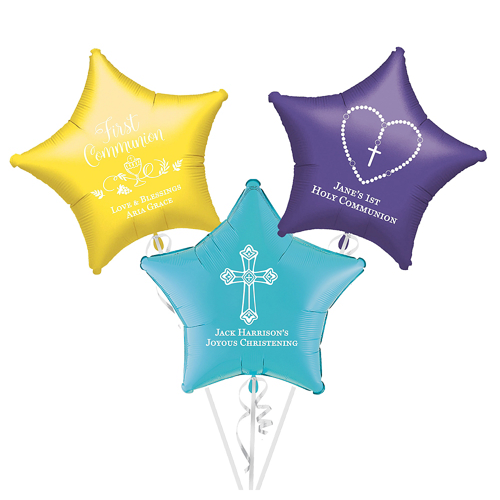 Personalized Communion Star Balloon Image #1